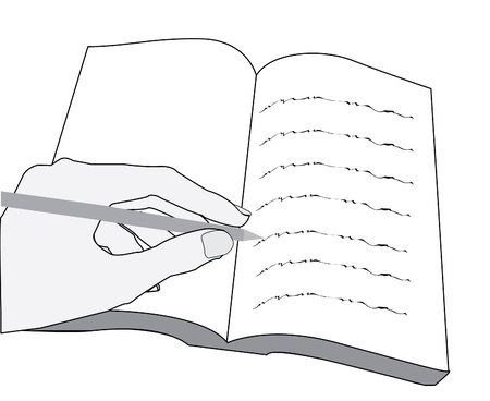 hand writing text in a book with a pen or pencil Stock Photo - 6381878