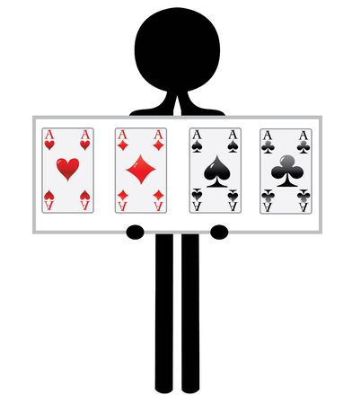 man with four aces for poker game photo