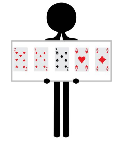 man with fullhouse from pokergame photo