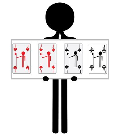 man with four jacks from pokergame photo