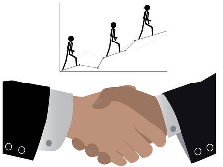 buen trato: agitando las manos para una buena parte en el negocio