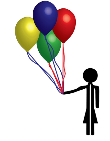 girl with balloons for a party Stock Vector - 6439627