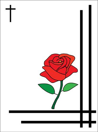 burial: condolence card with rose to send to relatives or family with a funeral  Stock Photo