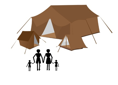 family goes to camping on vacation Stock Vector - 9781402