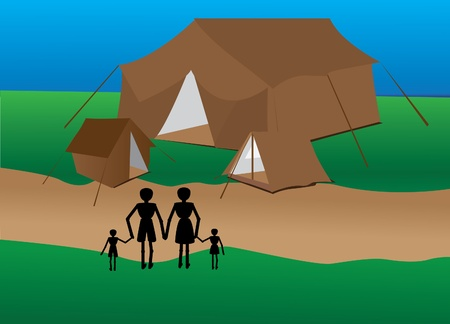 roughing: family goes to camping on vacation Illustration