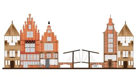 holanda bandera: horizonte de detalle de Amsterdam Vectores