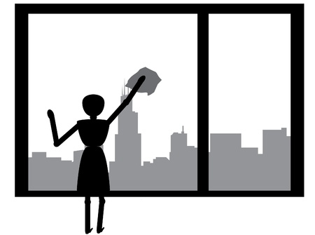 woman cleaning windows with skyline as backgropund Vectores