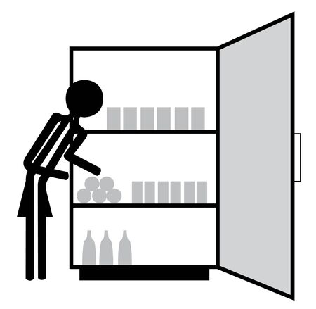 woman food in fridge Vector