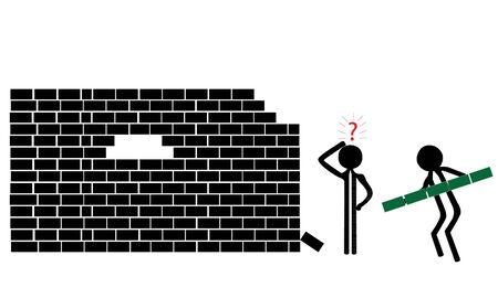 Teamarbeit Bau einer Mauer aus Steinen