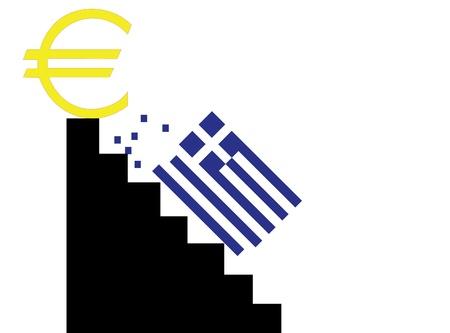 Griechenland fallen aus der Eurozone Vektorgrafik