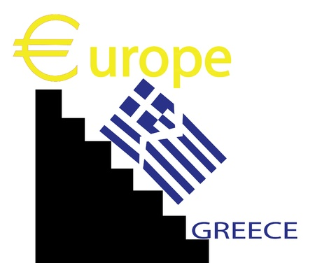 capitalism: greece falling from the euro zone Illustration
