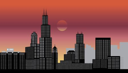 midwest: chicago night Illustration