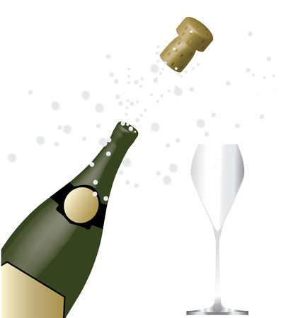 champagne with glass Stock Vector - 11540085