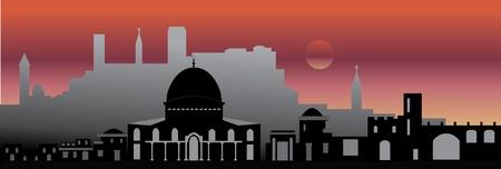 jeruzalem: Jeruzalem nacht Stock Illustratie