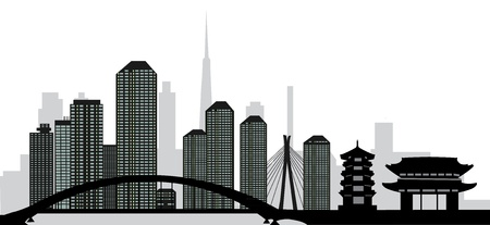 high rise buildings: tokyo skyline Illustration