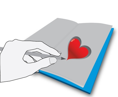 hand drawing a hart Vector