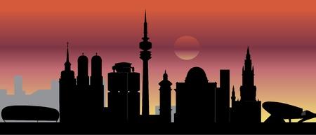 m�nchen: munich skyline zonsondergang