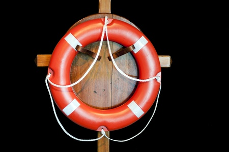 red buoy for helping people on sea photo
