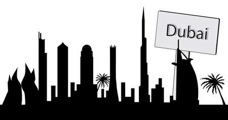 the emirates: Horizonte de Dubai Vectores