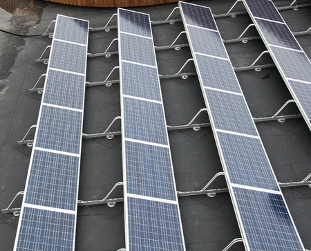 sun panels to collect green energy photo