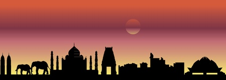 India skyline Illustration