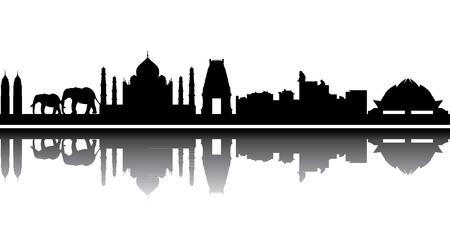 India skyline Vectores