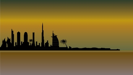 dubai skyline in desert Vector