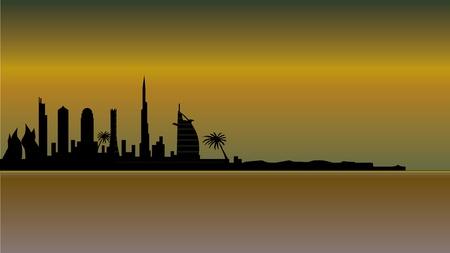 uae: dubai skyline in desert