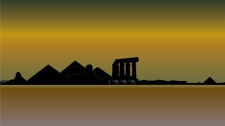 divinity: luxor egypt skyline Illustration
