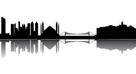 horizon reflection: Istanbul turkey skyline Illustration