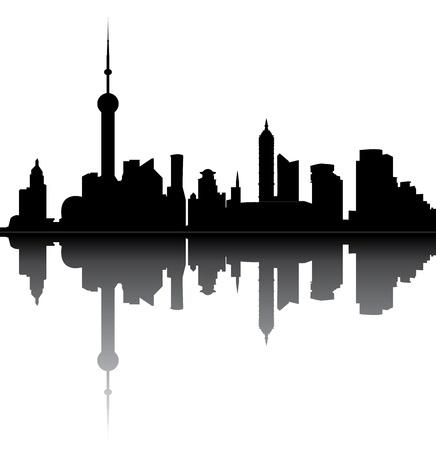 유명한: 상하이의 스카이 라인