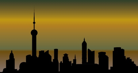 shanghai skyline Illustration