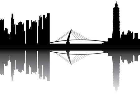 台北のスカイライン  イラスト・ベクター素材