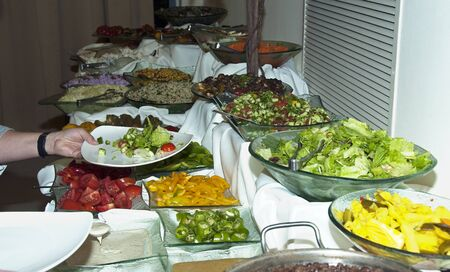 salad bar with food photo