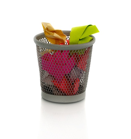 colored paper in waste basket as trash Stock Photo - 12944291