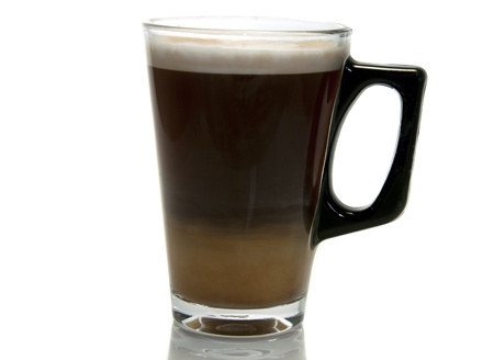 coffee with  milk in a glass photo