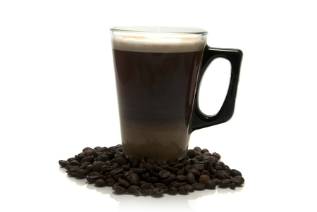 coffe with milk and raw beans photo