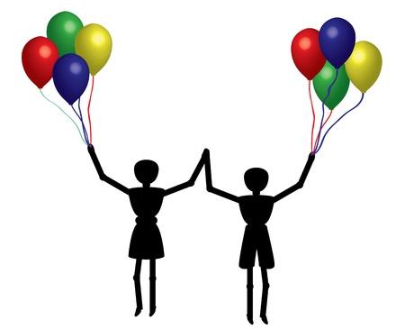 boy and girl with balloon Stock Vector - 13107924