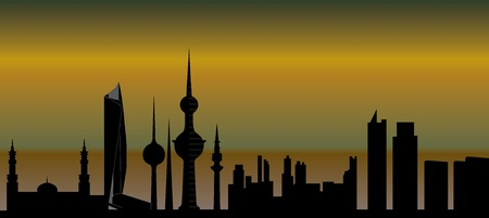 kuwait: kuwait skyline Illustration