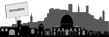 jerusalem skyline with text plate photo
