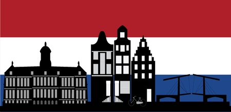 amsterdam with dutch flag Vector