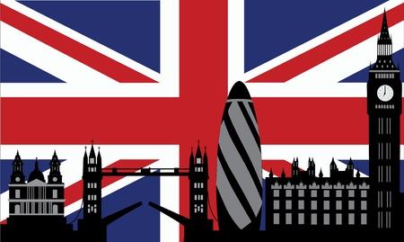 london skyline with british flag Illustration