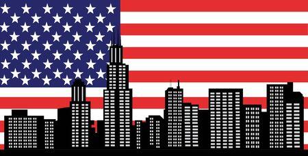 investment real state: Horizonte de Chicago, con la bandera americana como telón de fondo