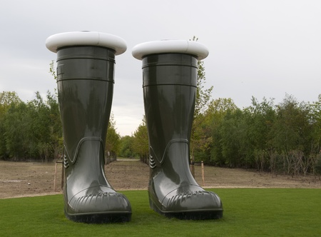 floriade: two green big boots at the floriade show 2012 in Holland
