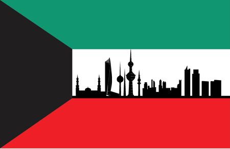 kuwait skyline with flag  Vector