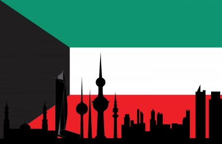 kuwait: kuwait skyline with flag