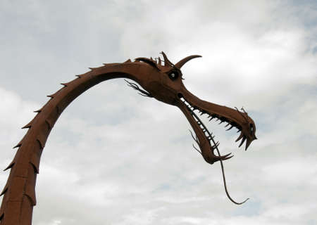 metal dragon on the floriade exihibition in Holland Stock Photo