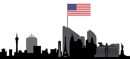 vegas strip: las vegas skyline with flag