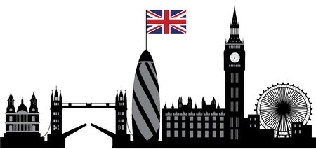 英国の旗とのロンドンのスカイライン
