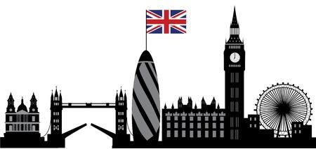 london: skyline van Londen met de Britse vlag